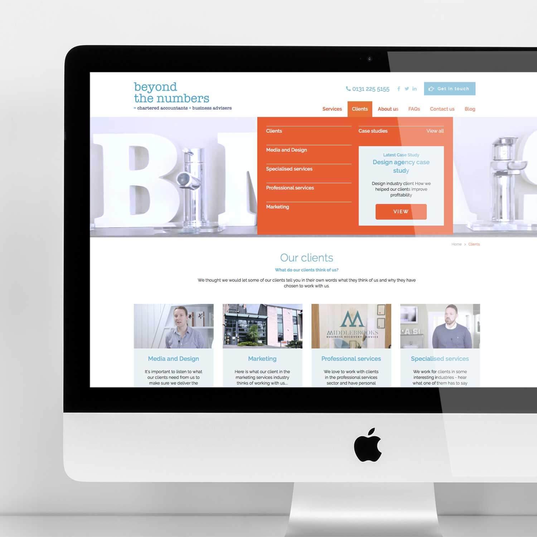 Desktop view of website for accountancy marketing