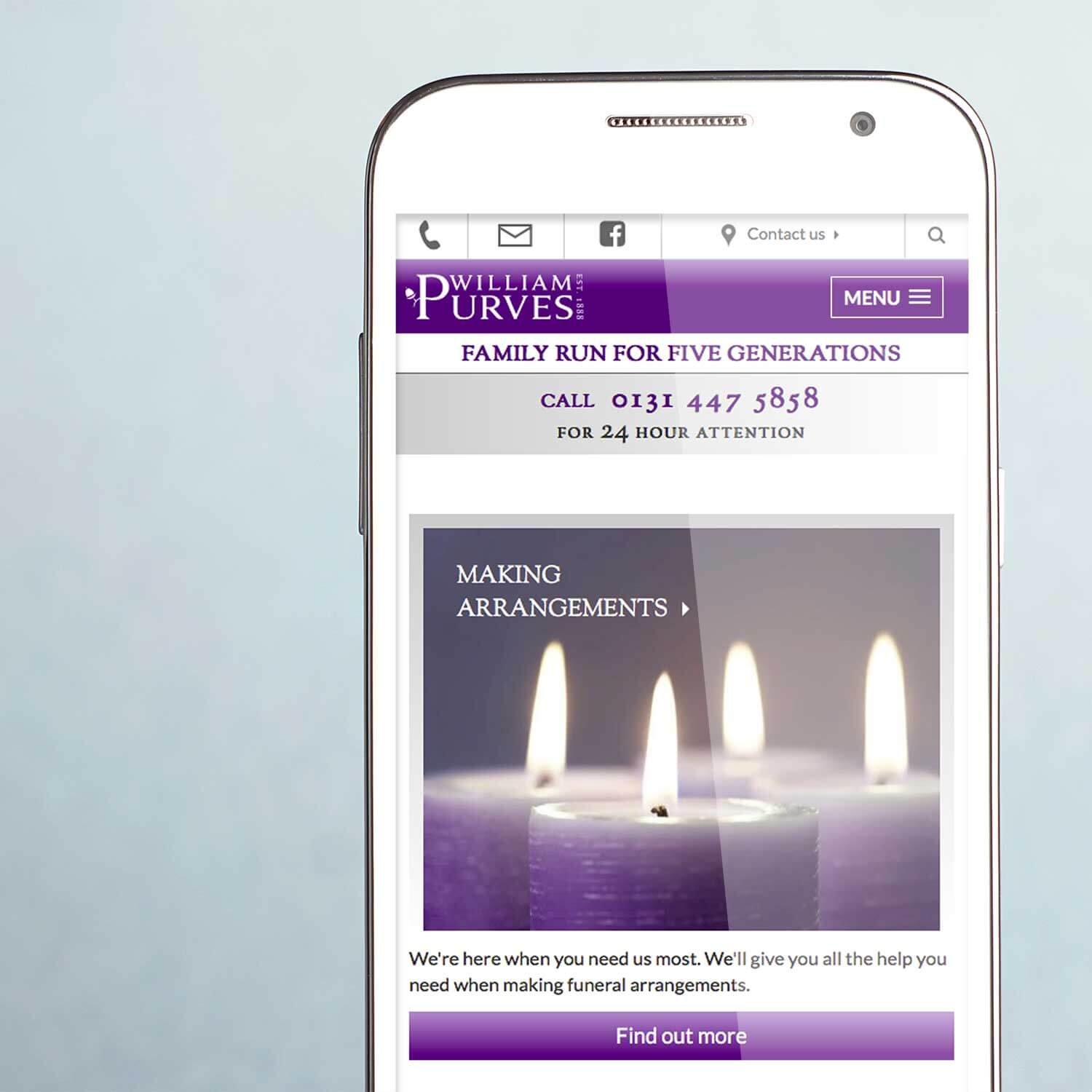 Mobile view of website for funeral industry marketing