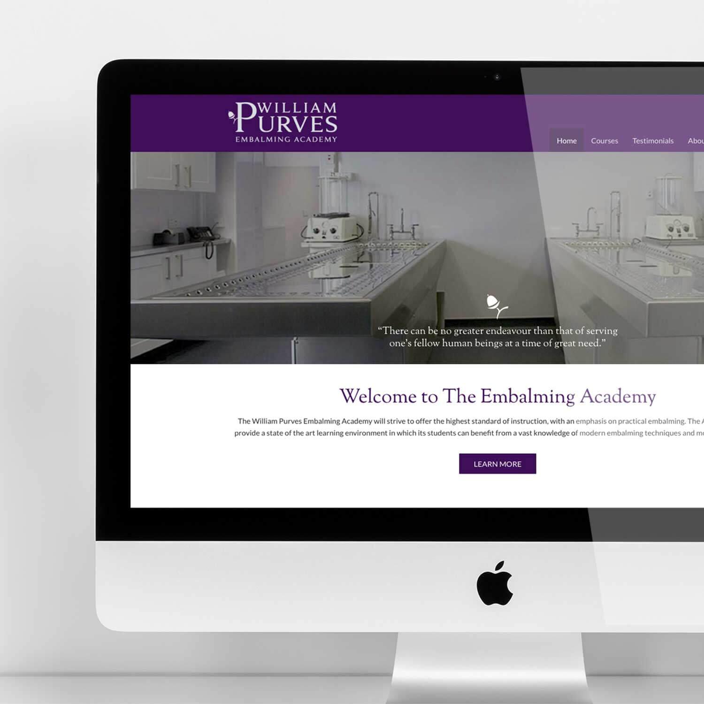 Desktop view of website for funeral industry marketing