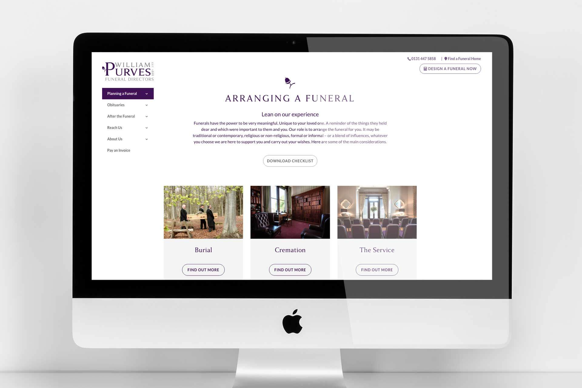 Responsive website example for funeral industry marketing