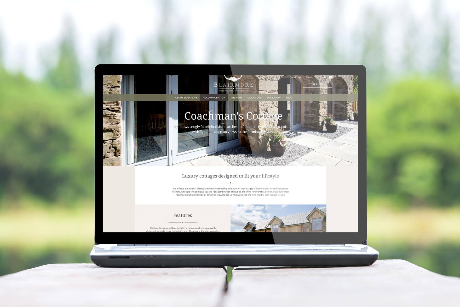 blairmore landing page on laptop