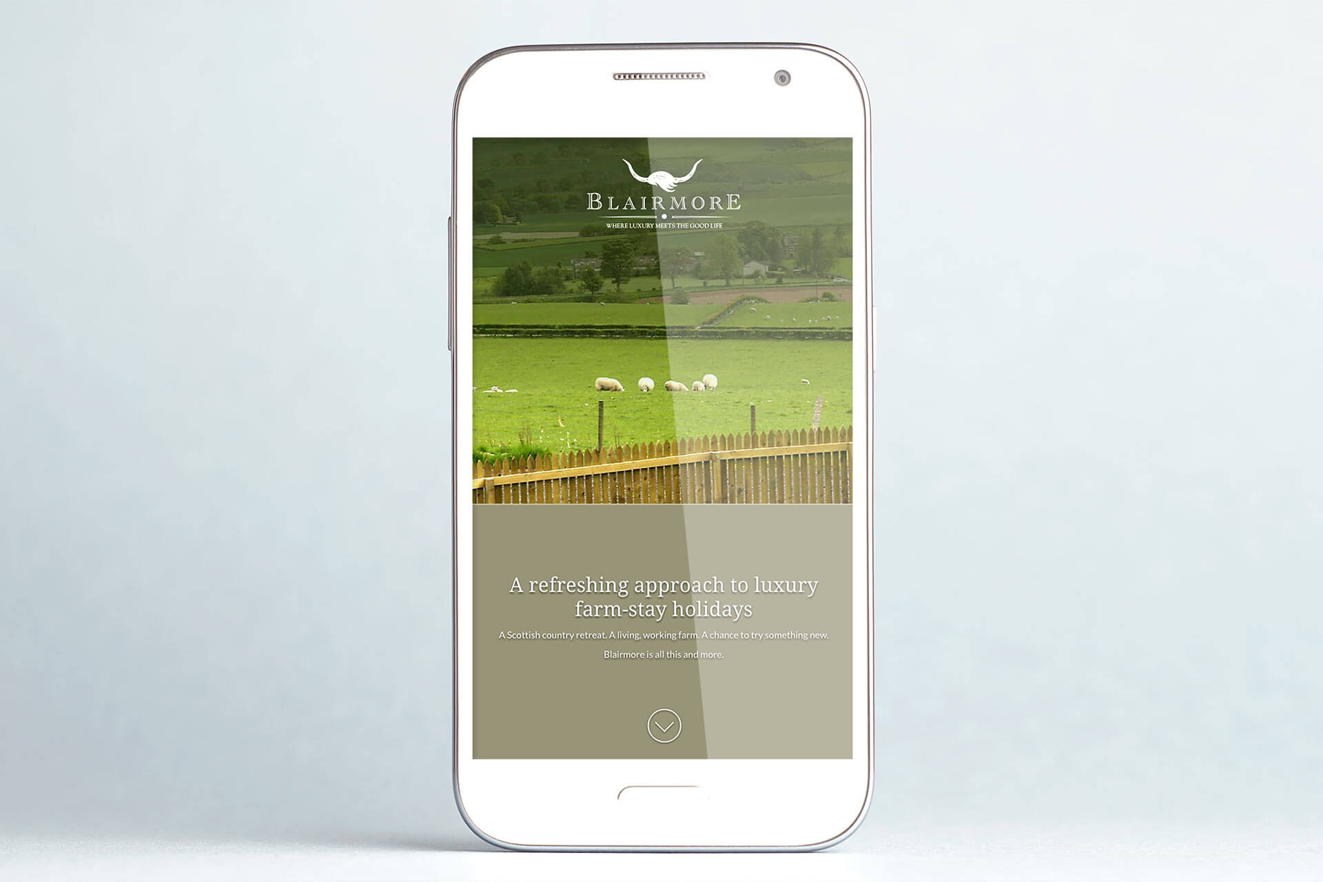 blairmore landing page on smartphone