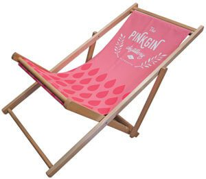 Printed fabric deck chair for outdoor display