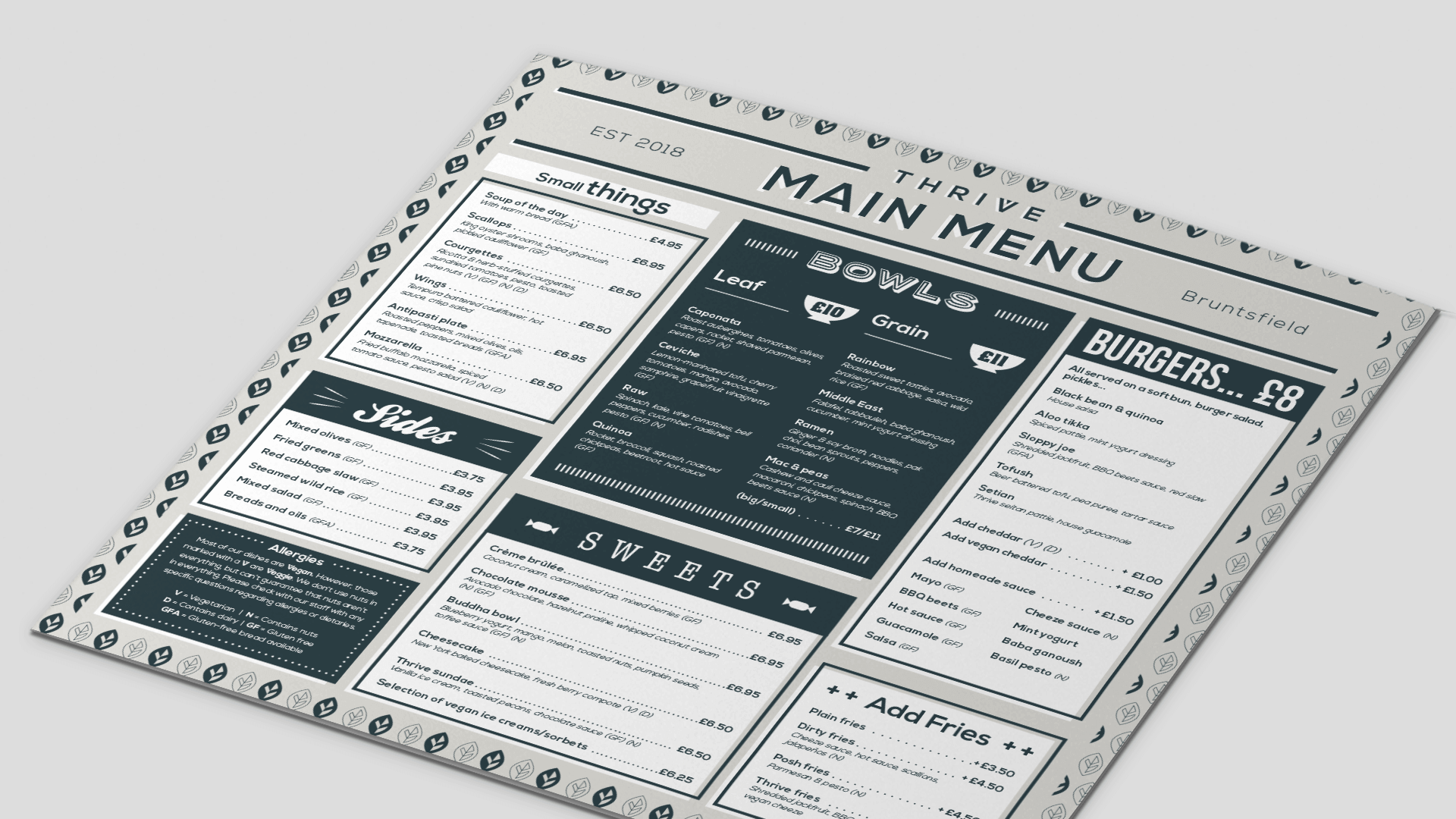 photo of vegan bar branding – example menu design